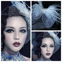 beaded head dress - Graceful Feather Beaded Hair Face Veil Bridal Head Dresses Accessories White Feather Hair Decoration