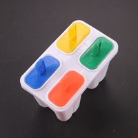 Cheap DIY 4 Cell Frozen Ice Cream Tools Popsicle Molds Maker Lolly Pop Mould Tray Pan Kitchen Tools