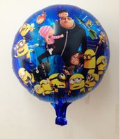 100pcs Livraison gratuite / Lot 18 '' Despicable Me Minions Cartoon ballon Jouets, forme ronde Ballons Foil Pour Party Decoration