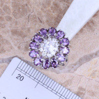 bags amethyst jewelry - Superb Purple Amethyst White Topaz Silver Jewelry Sets Earrings Pendant Ring Size Free Gift Bag S0427