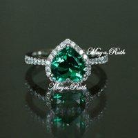 Wholesale Synthetic Emerald Ring Green Color Gem Heart Shape Girlfriend Gifts Sterling Silver White Gold Plated Cubic Zircon Around