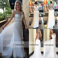 Reference Images Scoop Chiffon 2016 White Sequins Cheap Prom Party Dresses Crystal New Arrival Sheer Neck Sheath Girls Pageant Dress Custom Made Formal Beads Evening Gowns