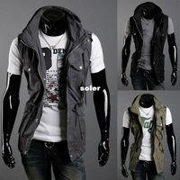 Cheap Wholesale trade rare double collar design new multi- pocket Slim Men's casual cotton sleeveless jackets