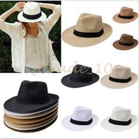 Wholesale 100pcs CCA2791 Solid Color Panama Straw Hats Fedora Soft Vogue Summer Sun Beach Trilby Gangster Linen Jazz Straw Hat Unisex Stingy Brim Caps