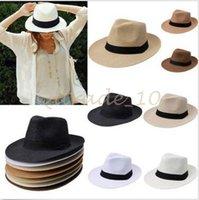 Wholesale 100pcs CCA2791 Solid Color Panama Straw Hats Fedora Soft Vogue Summer Sun Beach Trilby Gangster Linen Jazz Straw Hat Unisex Stingy Brim Caps