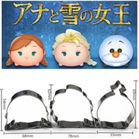 Wholesale Christmas Stainless Steel Mold - 3pcs Christmas Princess Snowman Molds Metal Stainless Steel Cookie Cutter Sandwich Biscuit Craft Mold Cake Mould Cupcake Topper