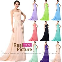 Wholesale Long Blush Chiffon Gowns - 2015 Cheap Bridesmaid Dresses Long Chiffon Maid of honor's Dress CUSTOM MADE A-Line One-Shoulder Blush Red Black Formal Evening Gowns