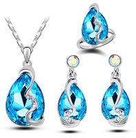 Wholesale earring ring and necklace set american and european style crystal jewelry set elegant summer jewelery set concise jewelery set LG229