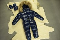 Wholesale New arrival Baby winter Duck down Jackets warm breathable soft newborn snowsuit Real Raccoon fur hooded Jumpsuit infant More color