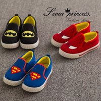 Wholesale retail spring autumn children shoes baby kids causal cartoon canvas shoes Superman Spiderman Batman shoes