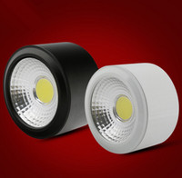 aluminium downlight - W Dimmable Warm Cold White COB Led Downlight for Indoor Lighting Surface Mounted Aluminium Sliver Black White AC85 V
