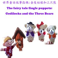 Cheap Wholesale-5 pcs lot,Baby Plush Toy  Finger Puppets Tell Story Props(1 People+1 House+3 Bear) Animal Doll  Kids Toys  Children Gift