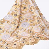Wholesale Embroidery design swiss voile lace gold african lace fabrics with stones for christmas dresses