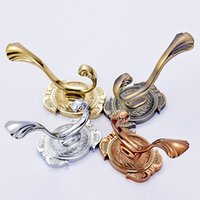 Wholesale pieces european retro and classic wall clothes hanger rack Gold antique chrome rose gold bathroom clothes hook hanger