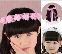Wholesale High Quality New Beautiful Girl Children Faux Pearls Lace Ribbon Floral Flower Wedding Party Hairband Headband tony807
