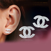 zirconia stud earrings - Cheap silver stud earrings for sale silver Double C earrings for women anti allergic silver jewelry discount WH