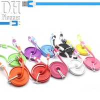 Wholesale 1M M M Colors Noodle Micro USB Cable For Samsung S4 HTC HUAWEI And Other Android Phones