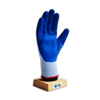 Wholesale 2001B Blue latex coated gloves with light grey T C shell