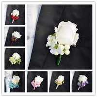 Cheap 2015 New Wedding Boutonniere Brooch Elegant Artificial rose Corsages Handmade Groom's Boutonniere For Wedding party supplies 10 styles