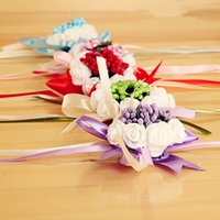 Wholesale 2015 New Arrival Romantic Wedding Bridesmaid Roses Wrist Flowers Wedding Garlands Party Supplies Bridal Wrist Bouquets Petals Pearls