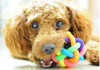 Wholesale colorful ball pet toy dog chew Elastic ball toys pet cat sound educational toys mini rubber rainbow ball for small medium large cute dog