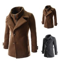 Wholesale 2014 new fashion slim men s Trench Coats Casual men s clothing Removable fake two single breasted coat mens s coats brown