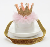 plastic tiaras - baby shiny crowns headbands girls sequin tiaras hair clips children birthday accessories kids elastic band gold prop barrettes pin