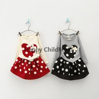 Wholesale 2015 Girl s long sleeve PC Sets Skirt Suit Minnie Mouse baby Clothing sets dots skirt dots pants girls clothes Retailp