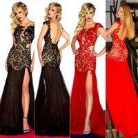Wholesale Real Image Sexy Bodycon Lace Mermaid Prom Dresses Sheer See Through Crew Neck Backless Side Split Long Bridal Evening Party Gowns Cheap