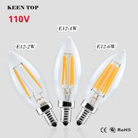 antique spot light - Newest USA AC110V E12 Dimmable W W W Candle Crystal Light LED Filament Bulb Antique Retro Vintage Edison Lamp LED spot Light