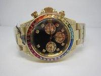 Luxury Men's Stopwatch New arrival top brand quality watch luxury quartz chronograph watches rainbow diamonds bezel yellow gold color wristwatches 84