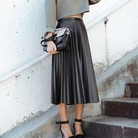 Wholesale Hot Sales Fashion Lady Skirts Vintage High Waist Slim Women Pleated Skirt Faux Leather Elegant Long Skirts Asia Size S M XB0115 Kevinstyle