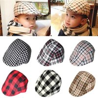 Wholesale Hot Sales Baby Boy Girl Children Kids Beret Caps Sun Hats Cotton Blend Fashion Classic Plaid Cool PX177