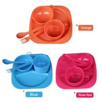 Wholesale 5pcs set Infant feeding cutlery set Children Tableware Plate bowl cup spoon Baby spoon bowl Tableware Set