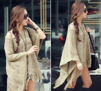 Wholesale Simplicity Women s Long Knitted Pullover Tassel Edge Poncho Sweater Hollow Cloak Shawls Bat Sleeve Knit Sweater Dress