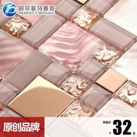 Wholesale T Platinum Amalfi crystal glass mosaic TV backdrop art glass decoration materials MH30