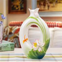 achat en gros de ceramic and porcelain vase-2016 vase chinois en céramique mordern art vase vase Jingdezhen émail de porcelaine et de l'artisanat table vase livraison gratuite