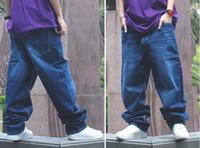 Wholesale 2015 New Fashion Men Hip Hop Classic Denim Blue Loose Men Harem Skateboard Jeans Men Baggy Pants