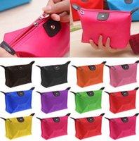 Wholesale Cute Women Dumpling type cosmetic bag capacity cosmetic Case Candy color nylon cosmetic Handbag waterproof Bags Gift Purse
