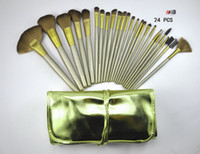 Wholesale lowest price High quality new hot Nude Gold set Makeup Brushes with leather pouch