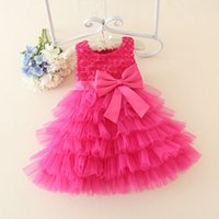 Wholesale Elegant Girl Dresses Baby Girl Performance Dress For Party Occasion Lace Bow Princess Baby Baptism Dress Years Colors