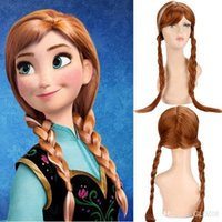Wholesale Girl kids Cosplay Frozen Princess Wigs Blonde Long Weaving Braid Costume Cosplay Party Wigs