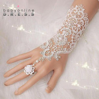 Wholesale 2016 Lace Wedding Bridal Gloves Fingerless with Flower Clips Elbow Length with Pearls Elegant Wedding Gloves for Bride Accessories CPA221