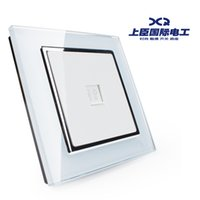 Wholesale The minister steel switch socket four core telephone socket panel voice module white glass