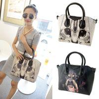 animal print handbags - Women Casual Dog and Cat Printed Handbag Top Quality PU Leather Animal Print Shoulder Messenger Bag Tote Bolsas Femininas H12426