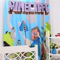 Wholesale 2pcs HOT ITEM In stock Original Cotton Minecraft Bedding Curtain Case Bedroom D Bedding Minecraft Steve Curtains