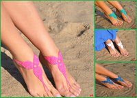 beach wedding bridesmaid gifts - 2015 Crochet White Barefoot Sandals Foot jewelry Bridesmaid gift Barefoot sandles Beach Anklet Wedding shoes Beach pair