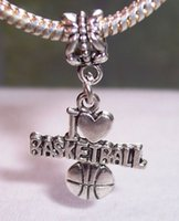 basketball beads - Hot Sale Antique silver quot I Heart Basketball quot Love Sports Dangle Big Hole Beads Fit Charm Bracelet Jewelry DIY x x mm