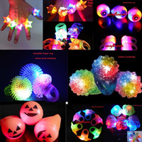 Wholesale Funny Cute Flashing Light LED Smile Rose Rings Blinking Party Soft Light Up Glow Jelly Finger Rings Wedding Decor