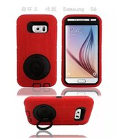 splint - For Samsung Galaxy S6 Ring Robot Hybrid Plastic PC Silicone case Hard Back Cover in with clip belt Splint stand Holder Heavy